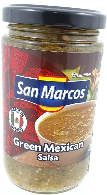 Green Mexican Salsa in glass 230 g. San Marcos