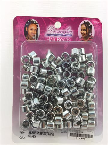 Hair beads snap on (clips) silver 1 pack (100 Pcs).
