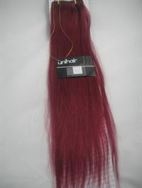 Silky straight hair with 6 psc.clips in Extention 20gr. colour wine red