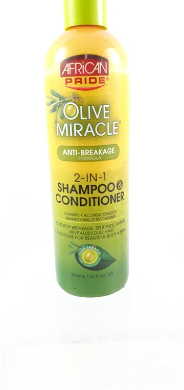 African Pride Olive Miracle Anti-breakage Shampoo Conditioner 2-in-1 - 355ml