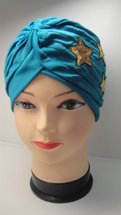 Turban Sequind star ruffle Hair Wrap Band Sleep Hat